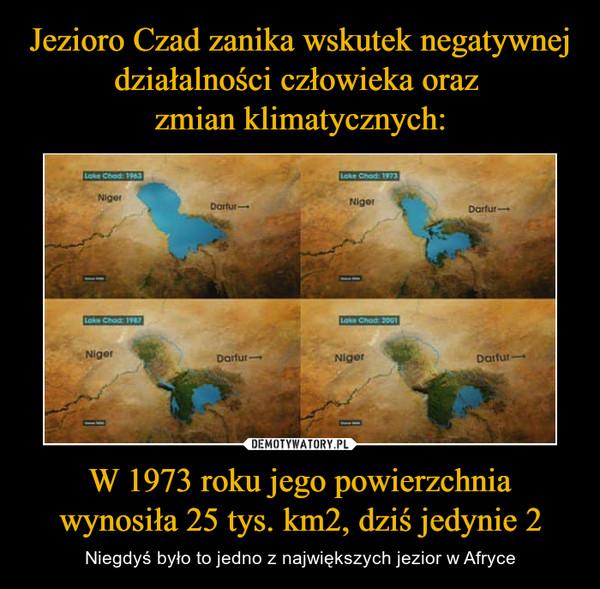 W 1973 roku jego powierzchnia wynosiła 25 tys. km2, dziś jedynie 2 – Niegdyś było to jedno z największych jezior w Afryce