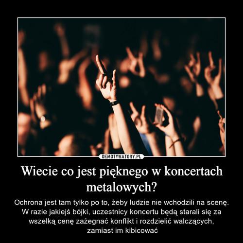 Wiecie co jest pięknego w koncertach metalowych?