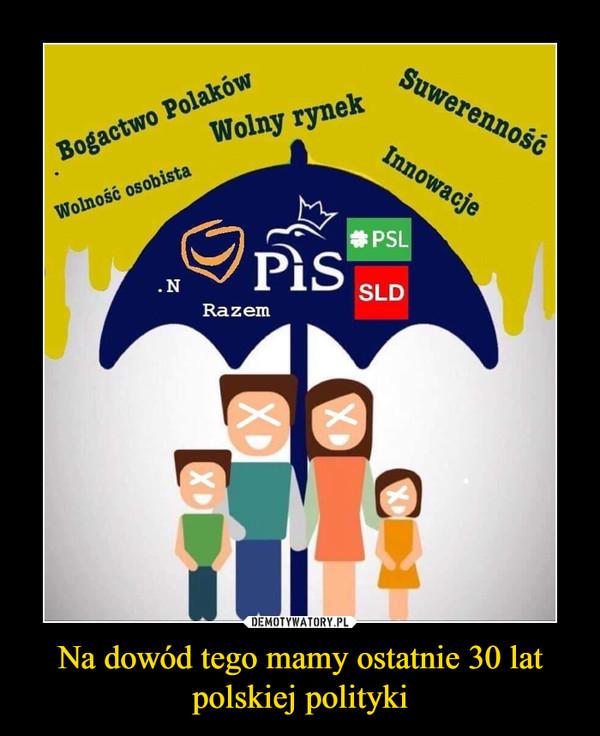 Na dowód tego mamy ostatnie 30 lat polskiej polityki –