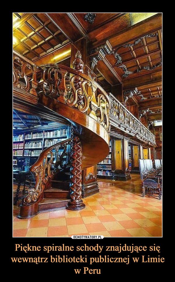 Piękne spiralne schody znajdujące się wewnątrz biblioteki publicznej w Limie w Peru –