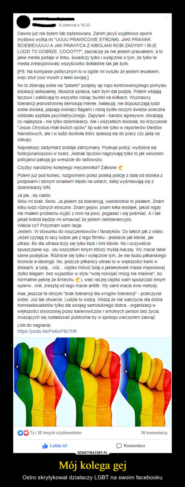 Mój kolega gej – Ostro skrytykował działaczy LGBT na swoim facebooku