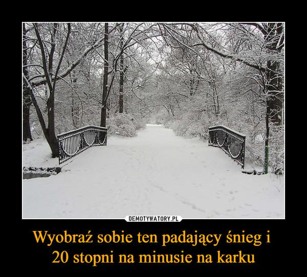 Wyobraź sobie ten padający śnieg i 20 stopni na minusie na karku –