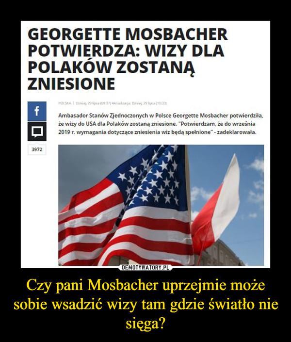 Czy pani Mosbacher uprzejmie może sobie wsadzić wizy tam gdzie światło nie sięga? –