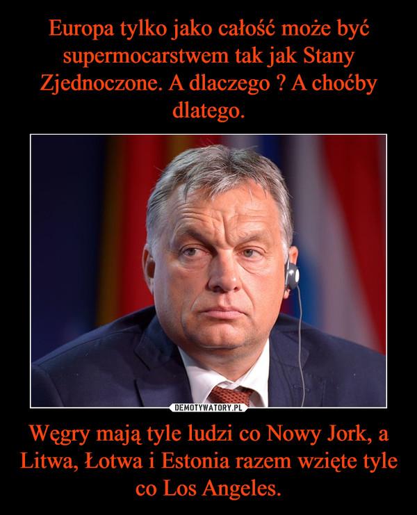 Węgry mają tyle ludzi co Nowy Jork, a Litwa, Łotwa i Estonia razem wzięte tyle co Los Angeles. –