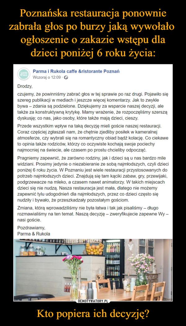 Poznańska restauracja ponownie zabrała głos po burzy jaką wywołało  ogłoszenie o zakazie wstępu dla dzieci poniżej 6 roku życia: Kto popiera ich decyzję?