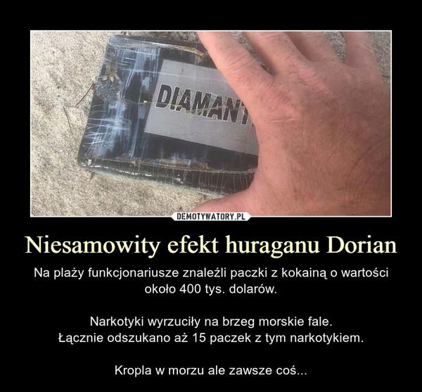 Niesamowity efekt huraganu Dorian – Na plaży funkcjonariusze znaleźli paczki z kokainą o wartości około 400 tys. dolarów.Narkotyki wyrzuciły na brzeg morskie fale.Łącznie odszukano aż 15 paczek z tym narkotykiem.Kropla w morzu ale zawsze coś...