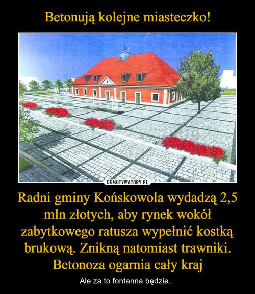 Betonują kolejne miasteczko! Radni gminy Końskowola wydadzą 2,5 mln złotych, aby rynek wokół zabytkowego ratusza wypełnić kostką brukową. Znikną natomiast trawniki. Betonoza ogarnia cały kraj
