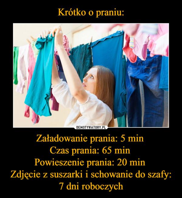 Załadowanie prania: 5 min Czas prania: 65 min Powieszenie prania: 20 min Zdjęcie z suszarki i schowanie do szafy: 7 dni roboczych –