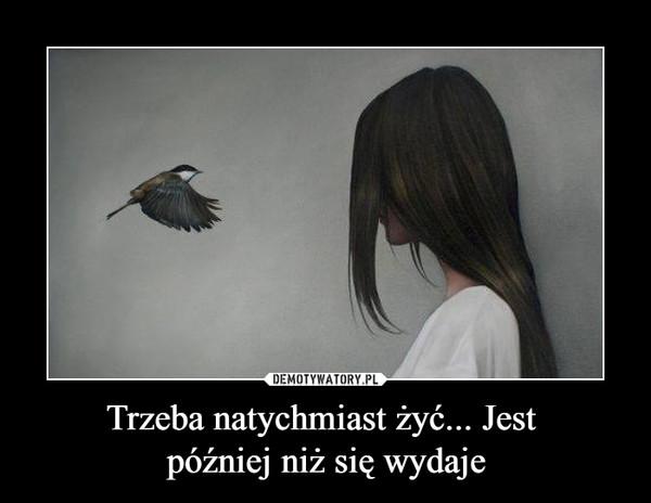 Trzeba natychmiast żyć... Jest później niż się wydaje –