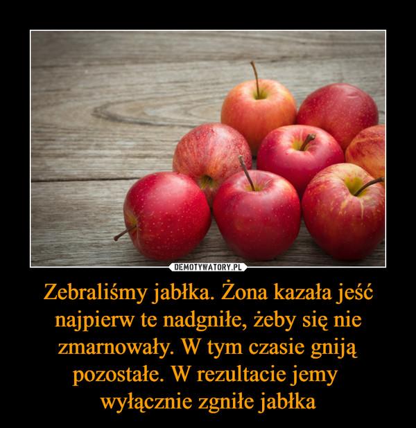 Zebraliśmy jabłka. Żona kazała jeść najpierw te nadgniłe, żeby się nie zmarnowały. W tym czasie gniją pozostałe. W rezultacie jemy  wyłącznie zgniłe jabłka