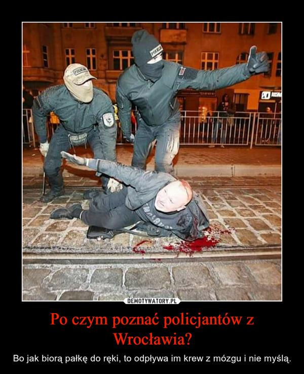 Po czym poznać policjantów z Wrocławia? – Bo jak biorą pałkę do ręki, to odpływa im krew z mózgu i nie myślą.
