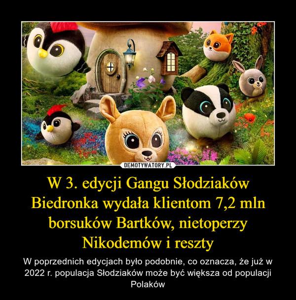W 3. edycji Gangu Słodziaków Biedronka wydała klientom 7,2 mln borsuków Bartków, nietoperzy Nikodemów i reszty – W poprzednich edycjach było podobnie, co oznacza, że już w 2022 r. populacja Słodziaków może być większa od populacji Polaków