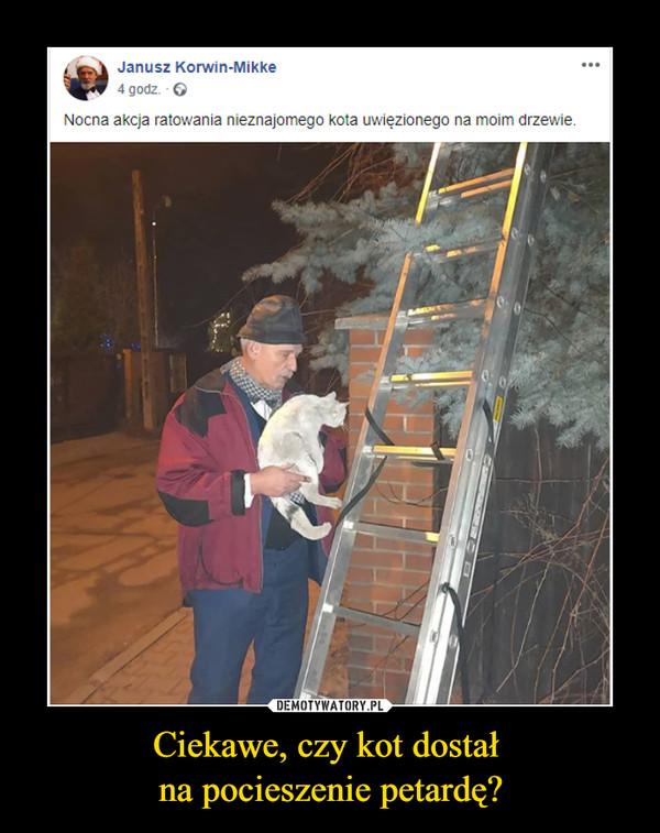 Ciekawe, czy kot dostał na pocieszenie petardę? –  Janusz Korwin-Mikke· 4 godz. ·  Nocna akcja ratowania nieznajomego kota uwięzionego na moim drzewie.
