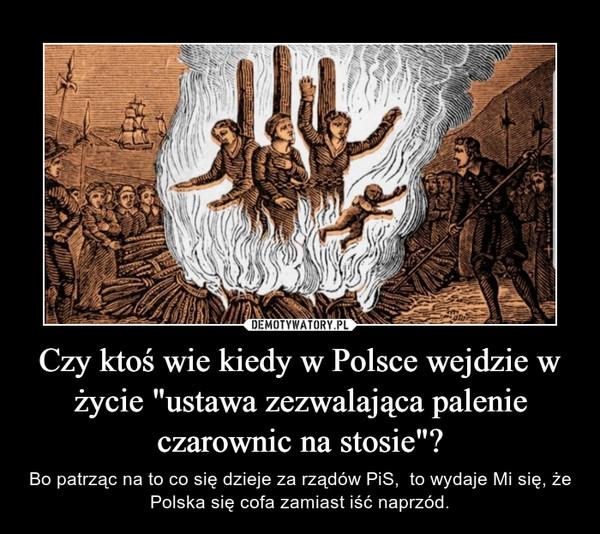 """Czy ktoś wie kiedy w Polsce wejdzie w życie """"ustawa zezwalająca palenie czarownic na stosie""""? – Bo patrząc na to co się dzieje za rządów PiS,  to wydaje Mi się, że Polska się cofa zamiast iść naprzód."""