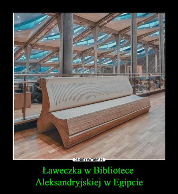 Ławeczka w Bibliotece Aleksandryjskiej w Egipcie –