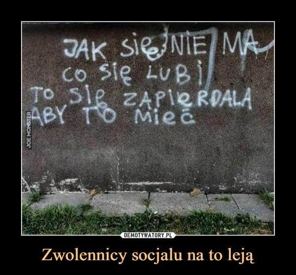 Zwolennicy socjalu na to leją –