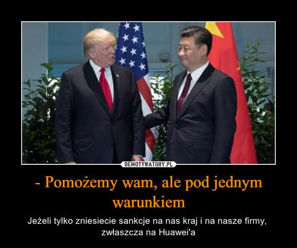 - Pomożemy wam, ale pod jednym warunkiem – Jeżeli tylko zniesiecie sankcje na nas kraj i na nasze firmy,  zwłaszcza na Huawei'a
