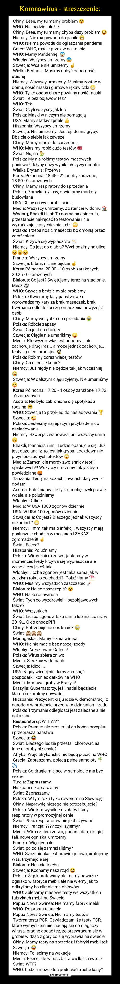 Koronawirus - streszczenie: