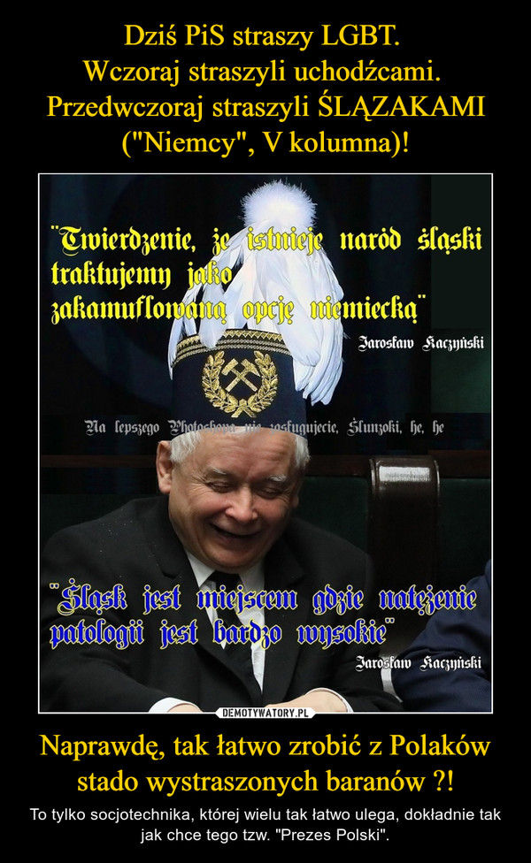 """Naprawdę, tak łatwo zrobić z Polaków stado wystraszonych baranów ?! – To tylko socjotechnika, której wielu tak łatwo ulega, dokładnie tak jak chce tego tzw. """"Prezes Polski""""."""