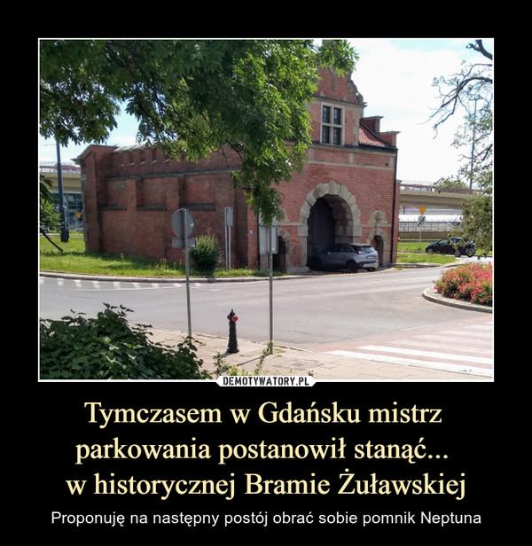 Tymczasem w Gdańsku mistrz parkowania postanowił stanąć... w historycznej Bramie Żuławskiej – Proponuję na następny postój obrać sobie pomnik Neptuna
