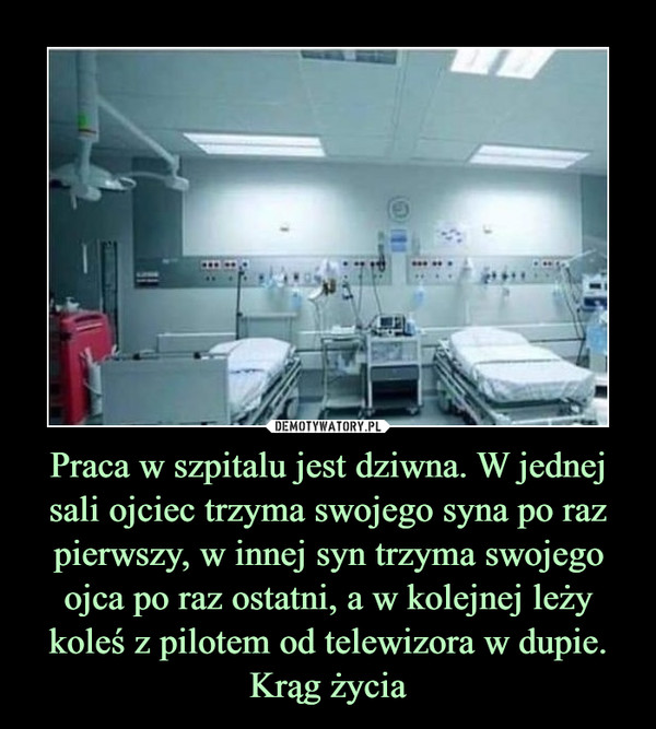 Praca w szpitalu jest dziwna. W jednej sali ojciec trzyma swojego syna po raz pierwszy, w innej syn trzyma swojego ojca po raz ostatni, a w kolejnej leży koleś z pilotem od telewizora w dupie. Krąg życia –