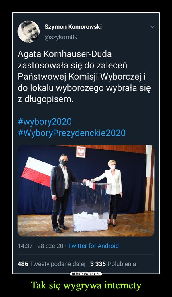 Tak się wygrywa internety –  kpSzymon Komorowski @szykom89 Agata Kornhauser-Duda zastosowała się do zaleceń Państwowej Komisji Wyborczej i do lokalu wyborczego wybrała się z długopisem. #wybory2020 #WyboryPrezydenckie2020