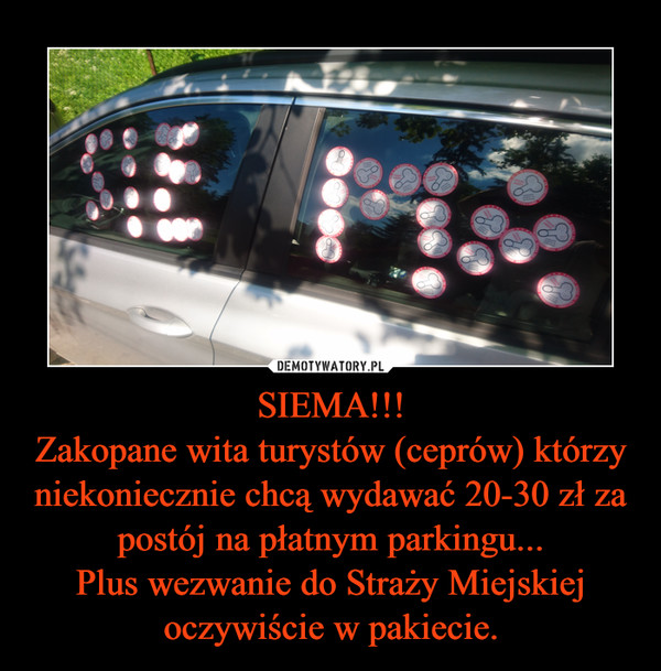 SIEMA!!!Zakopane wita turystów (ceprów) którzy niekoniecznie chcą wydawać 20-30 zł za postój na płatnym parkingu...Plus wezwanie do Straży Miejskiej oczywiście w pakiecie. –
