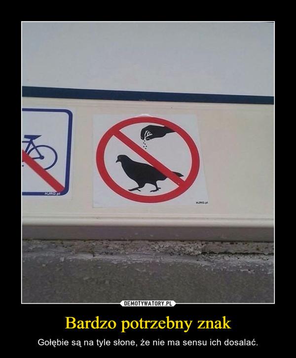 Bardzo potrzebny znak – Gołębie są na tyle słone, że nie ma sensu ich dosalać.