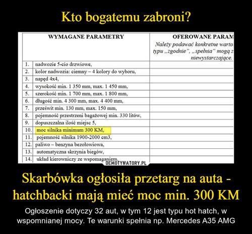 Kto bogatemu zabroni? Skarbówka ogłosiła przetarg na auta - hatchbacki mają mieć moc min. 300 KM