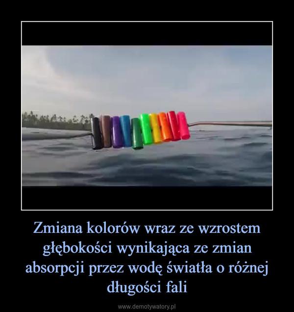Zmiana kolorów wraz ze wzrostem głębokości wynikająca ze zmian absorpcji przez wodę światła o różnej długości fali –