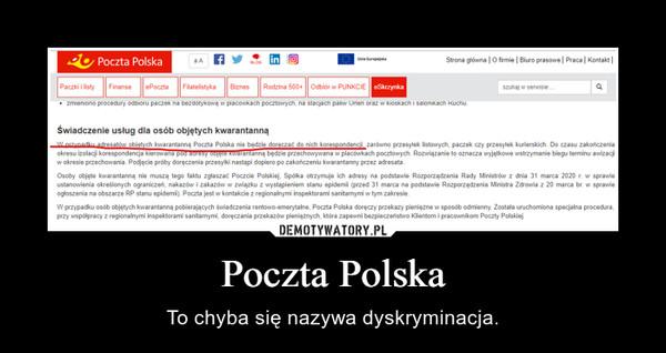 Poczta Polska – To chyba się nazywa dyskryminacja.