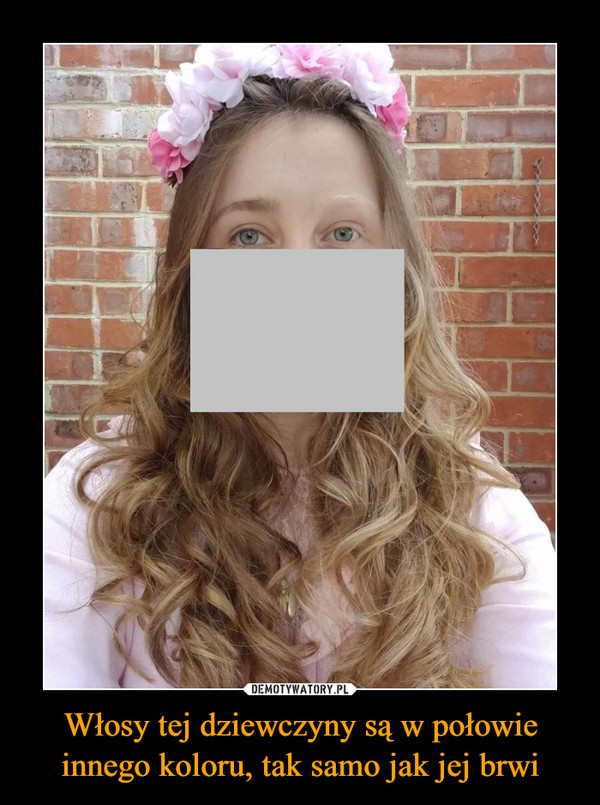 Włosy tej dziewczyny są w połowie innego koloru, tak samo jak jej brwi –