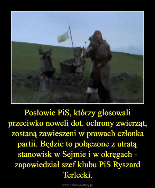 Posłowie PiS, którzy głosowali przeciwko noweli dot. ochrony zwierząt, zostaną zawieszeni w prawach członka partii. Będzie to połączone z utratą stanowisk w Sejmie i w okręgach - zapowiedział szef klubu PiS Ryszard Terlecki. –