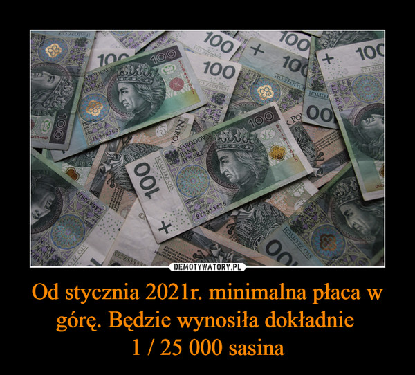 Od stycznia 2021r. minimalna płaca w górę. Będzie wynosiła dokładnie 1 / 25 000 sasina –