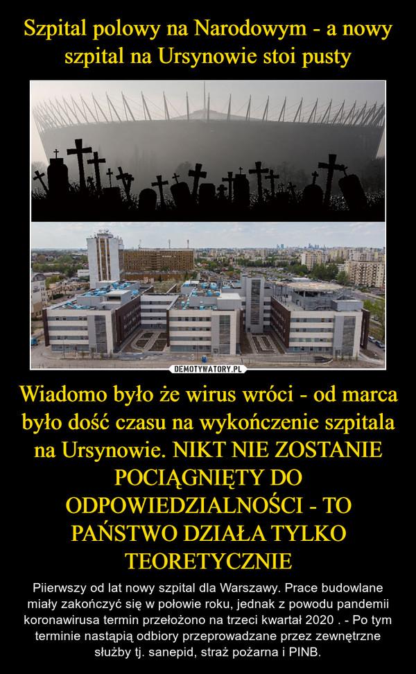Wiadomo było że wirus wróci - od marca było dość czasu na wykończenie szpitala na Ursynowie. NIKT NIE ZOSTANIE POCIĄGNIĘTY DO ODPOWIEDZIALNOŚCI - TO PAŃSTWO DZIAŁA TYLKO TEORETYCZNIE – Piierwszy od lat nowy szpital dla Warszawy. Prace budowlane miały zakończyć się w połowie roku, jednak z powodu pandemii koronawirusa termin przełożono na trzeci kwartał 2020 . - Po tym terminie nastąpią odbiory przeprowadzane przez zewnętrzne służby tj. sanepid, straż pożarna i PINB.