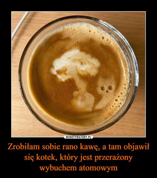 Zrobiłam sobie rano kawę, a tam objawił się kotek, który jest przerażony wybuchem atomowym