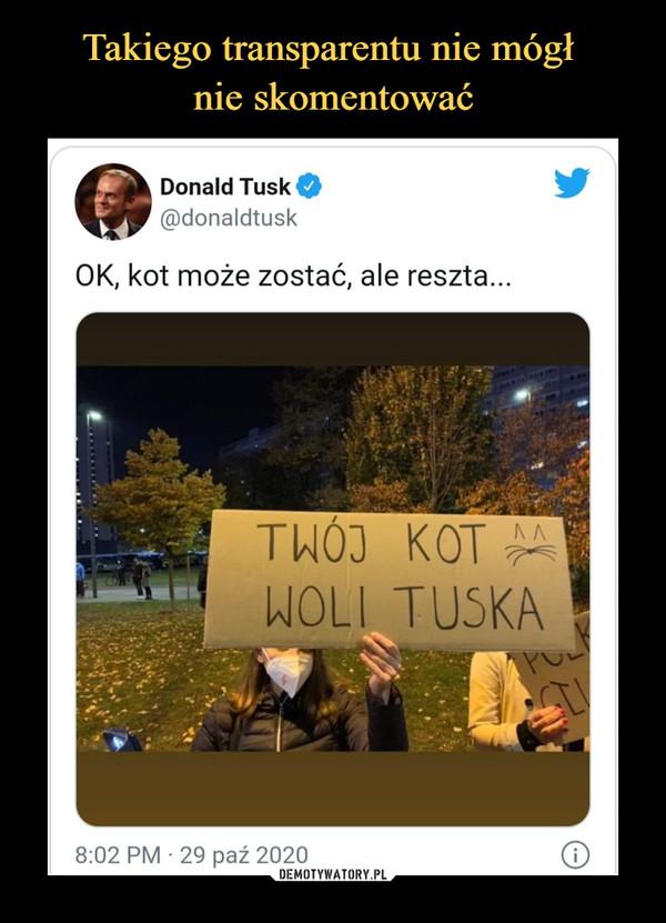 –  Donald Tusk O@donaldtuskOK, kot może zostać, ale reszta...TWÓJ KOTWOLI TUSKA