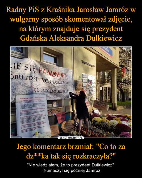 """Radny PiS z Kraśnika Jarosław Jamróz w wulgarny sposób skomentował zdjęcie, na którym znajduje się prezydent Gdańska Aleksandra Dulkiewicz Jego komentarz brzmiał: """"Co to za dz**ka tak się rozkraczyła?"""""""
