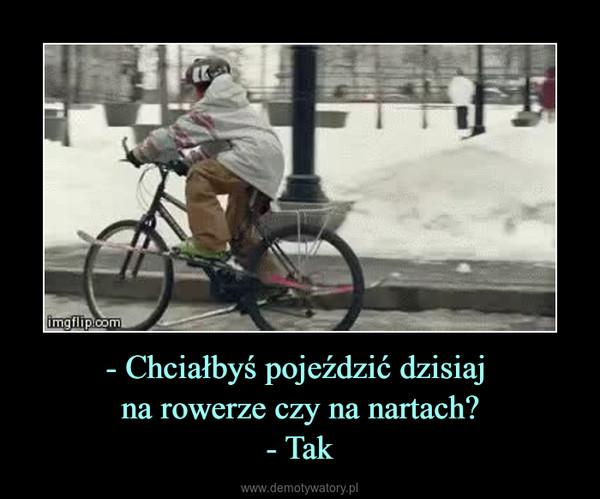 - Chciałbyś pojeździć dzisiaj na rowerze czy na nartach?- Tak –