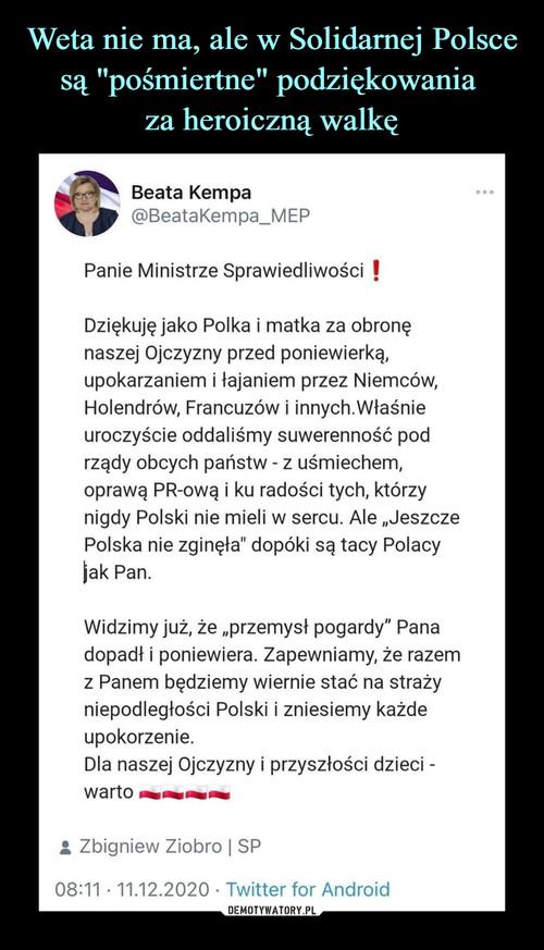 """Weta nie ma, ale w Solidarnej Polsce są """"pośmiertne"""" podziękowania  za heroiczną walkę"""