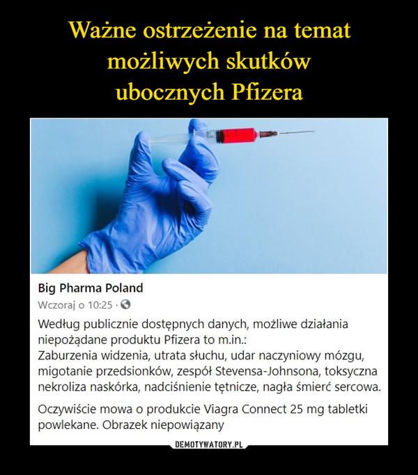–  Big Pharma PolandWczoraj o 10:25Według publicznie dostępnych danych, możliwe działanianiepożądane produktu Pfizera to m.in.:Zaburzenia widzenia, utrata słuchu, udar naczyniowy mózgu,migotanie przedsionków, zespół Stevensa-Johnsona, toksycznanekroliza naskórka, nadciśnienie tętnicze, nagła śmierć sercowa.Oczywiście mowa o produkcie Viagra Connect 25 mg tabletkipowlekane. Obrazek niepowiązany