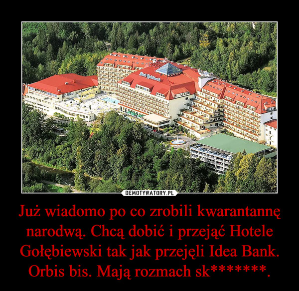Już wiadomo po co zrobili kwarantannę narodwą. Chcą dobić i przejąć Hotele Gołębiewski tak jak przejęli Idea Bank. Orbis bis. Mają rozmach sk*******. –