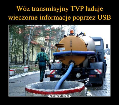 Wóz transmisyjny TVP ładuje wieczorne informacje poprzez USB