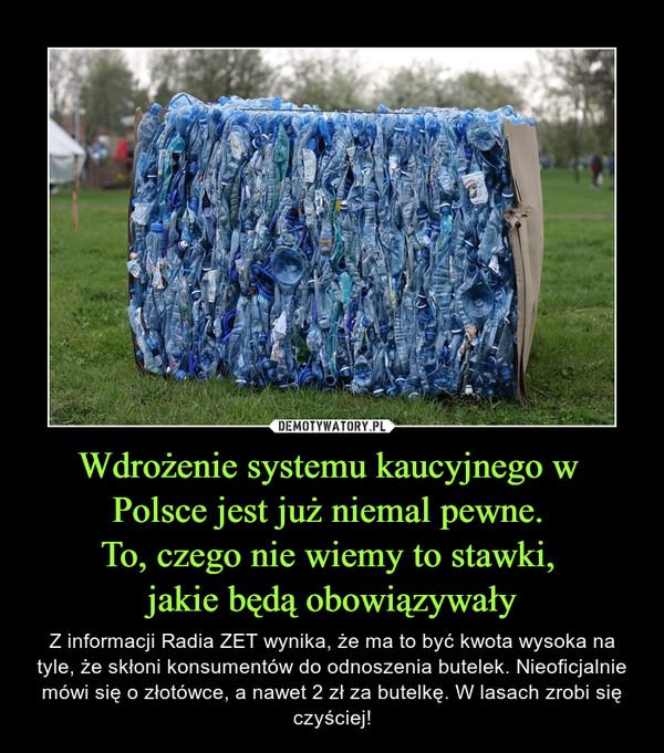 Wdrożenie systemu kaucyjnego w Polsce jest już niemal pewne. To, czego nie wiemy to stawki, jakie będą obowiązywały – Z informacji Radia ZET wynika, że ma to być kwota wysoka na tyle, że skłoni konsumentów do odnoszenia butelek. Nieoficjalnie mówi się o złotówce, a nawet 2 zł za butelkę. W lasach zrobi się czyściej!