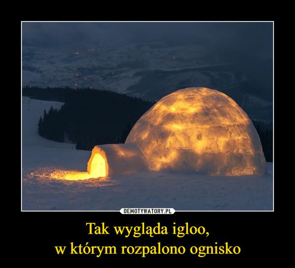 Tak wygląda igloo,w którym rozpalono ognisko –