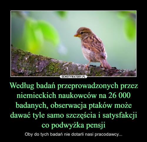 Według badań przeprowadzonych przez niemieckich naukowców na 26 000 badanych, obserwacja ptaków może dawać tyle samo szczęścia i satysfakcji co podwyżka pensji