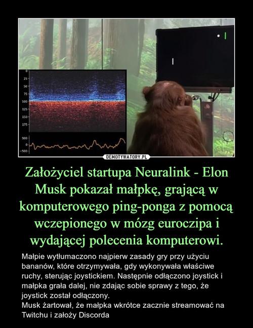 Założyciel startupa Neuralink - Elon Musk pokazał małpkę, grającą w komputerowego ping-ponga z pomocą wczepionego w mózg euroczipa i wydającej polecenia komputerowi.