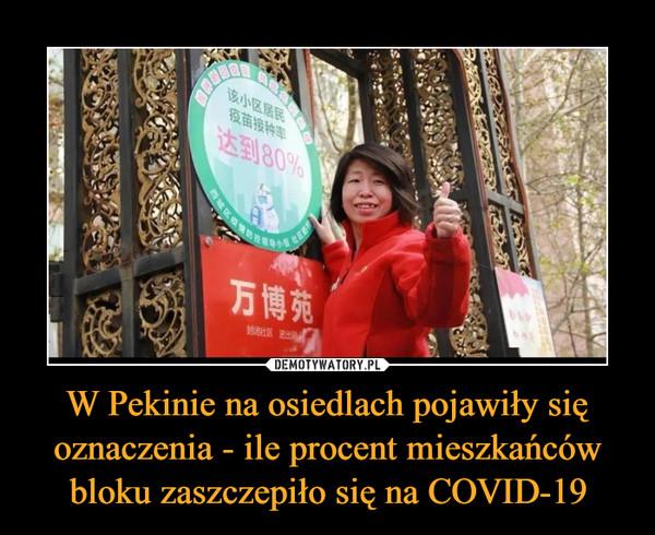 W Pekinie na osiedlach pojawiły się oznaczenia - ile procent mieszkańców bloku zaszczepiło się na COVID-19 –