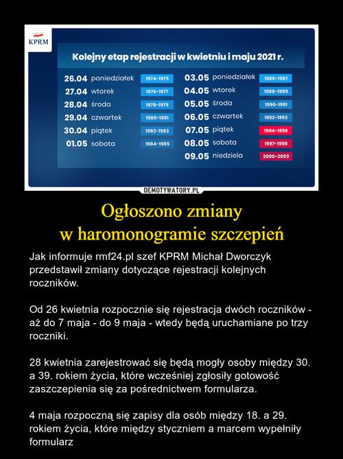 Ogłoszono zmiany w haromonogramie szczepień