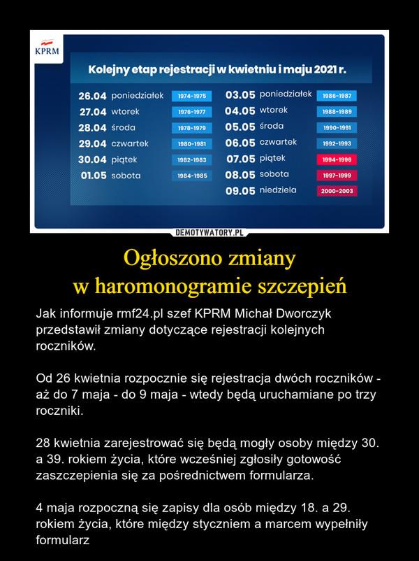 Ogłoszono zmianyw haromonogramie szczepień – Jak informuje rmf24.pl szef KPRM Michał Dworczyk przedstawił zmiany dotyczące rejestracji kolejnych roczników. Od 26 kwietnia rozpocznie się rejestracja dwóch roczników - aż do 7 maja - do 9 maja - wtedy będą uruchamiane po trzy roczniki.28 kwietnia zarejestrować się będą mogły osoby między 30. a 39. rokiem życia, które wcześniej zgłosiły gotowość zaszczepienia się za pośrednictwem formularza. 4 maja rozpoczną się zapisy dla osób między 18. a 29. rokiem życia, które między styczniem a marcem wypełniły formularz